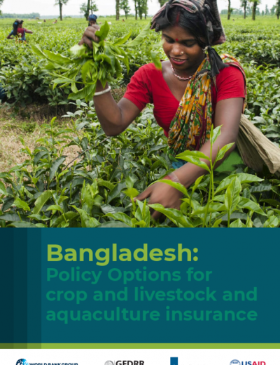 Bangladesh: Policy Options for Agriculture Insurance