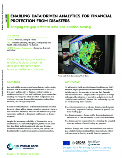 Enabling Data-driven Analytics for Financial Protection from Disasters