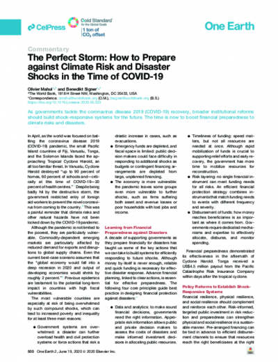 The Perfect Storm: How to Prepare against Climate Risk and Disaster Shocks in the Time of COVID-19